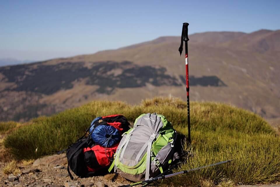Backpacks on the Mountain Peak.
