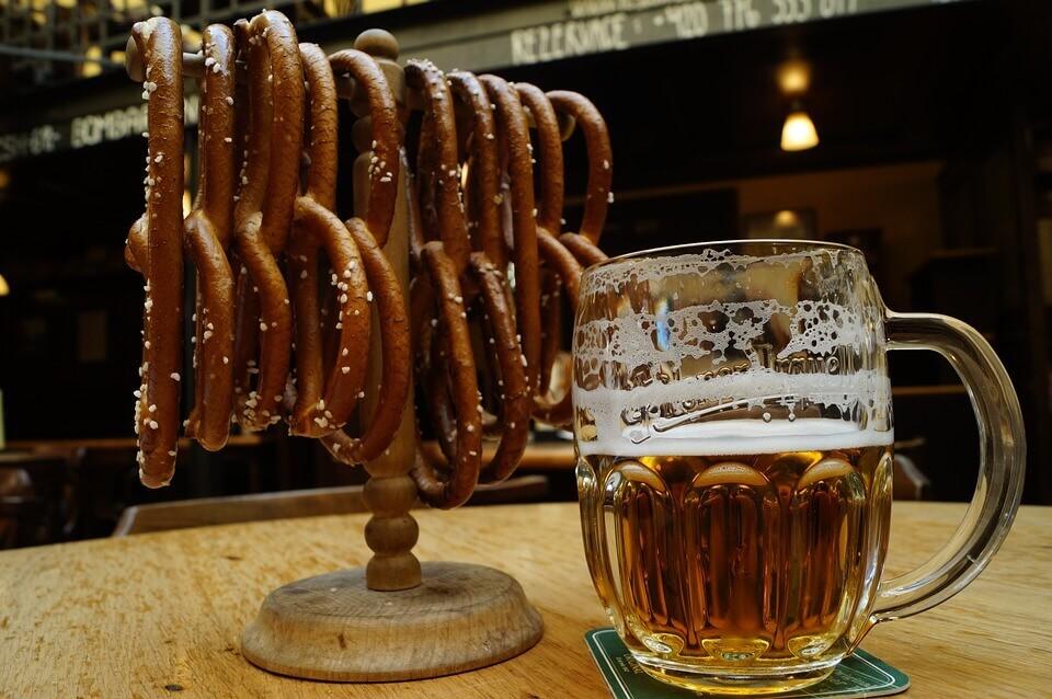 an image of pretzels and half-empty keg