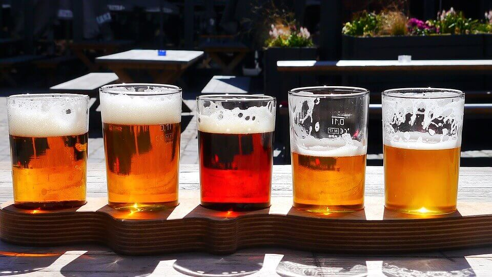 glasses with different ales