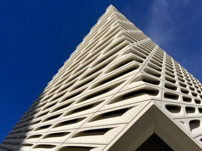 An image of a building and clear blue sky