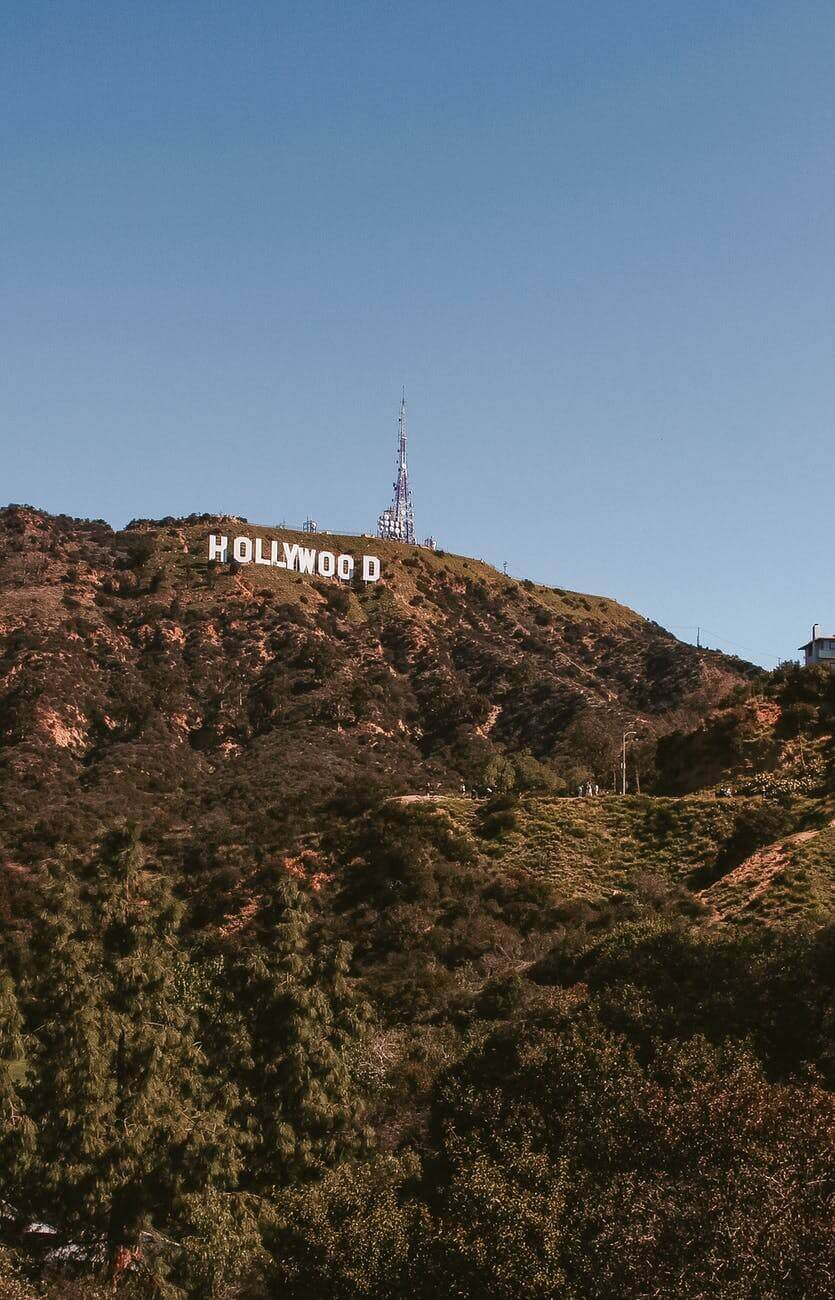 Underneath the Hollywood sign