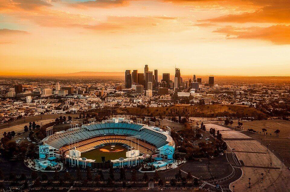 A sunset over Dodger Stadium