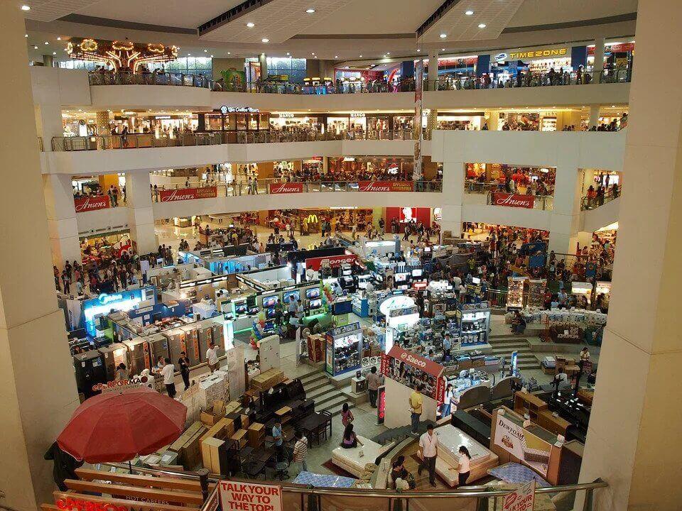 Shopping plaza interior