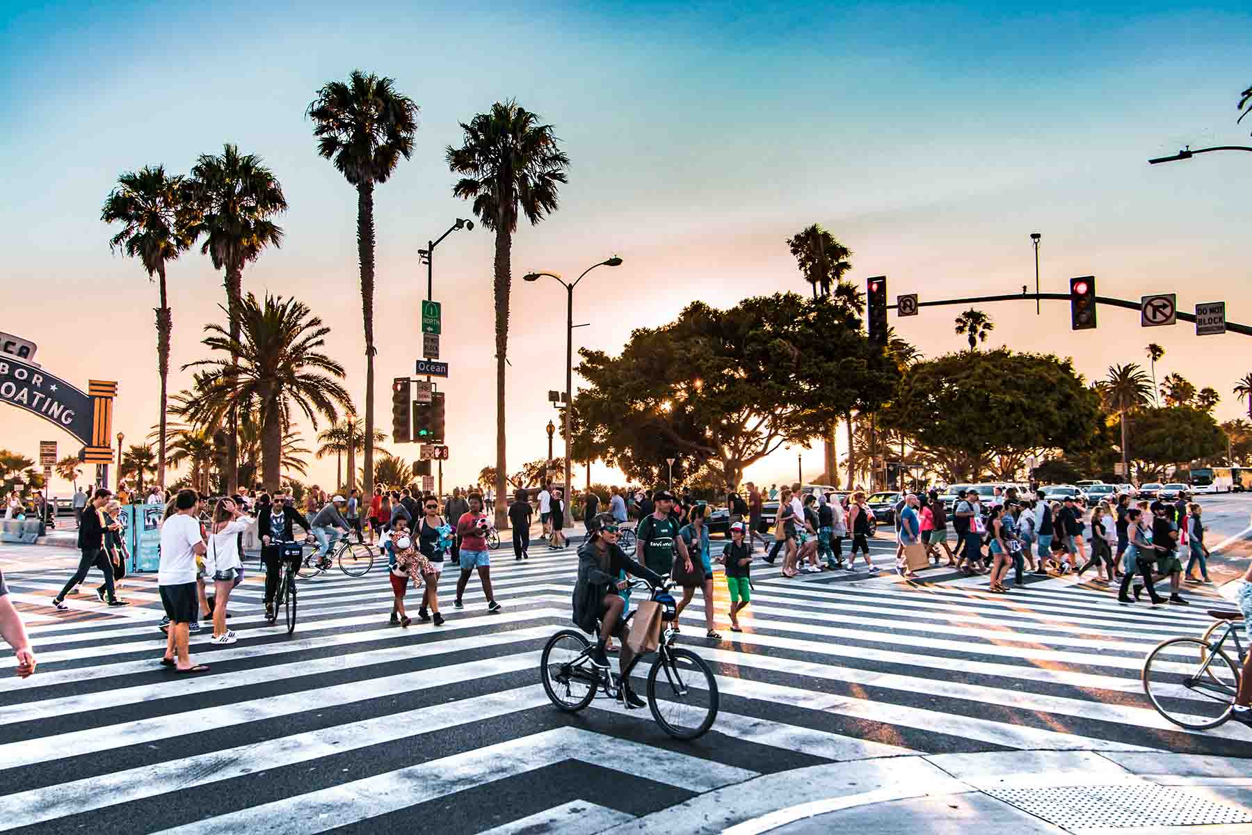 An crosswalk on Santa Monica Boulevard
