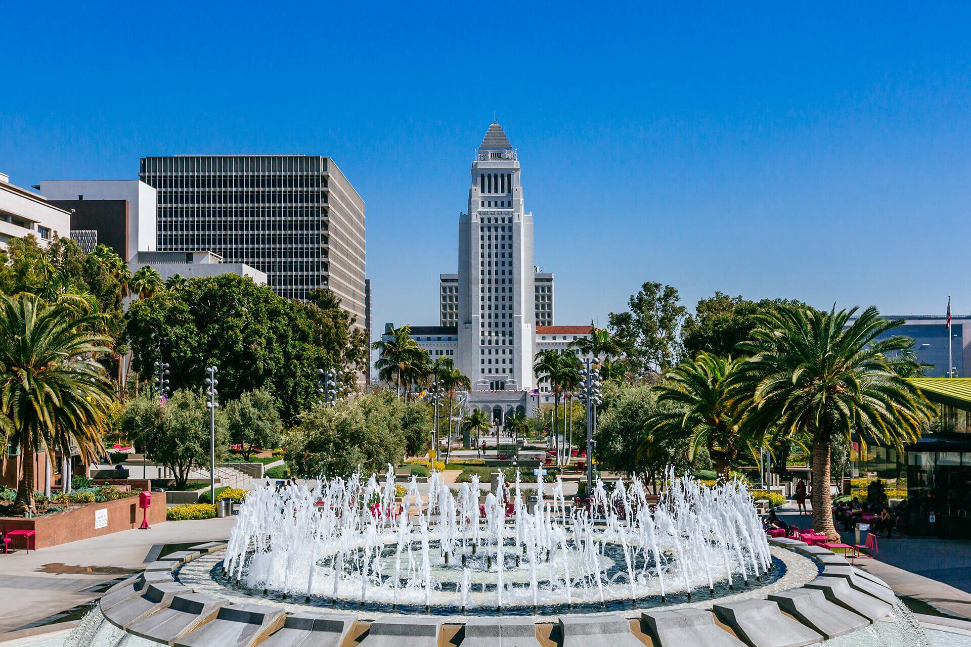 A park with a fountain
