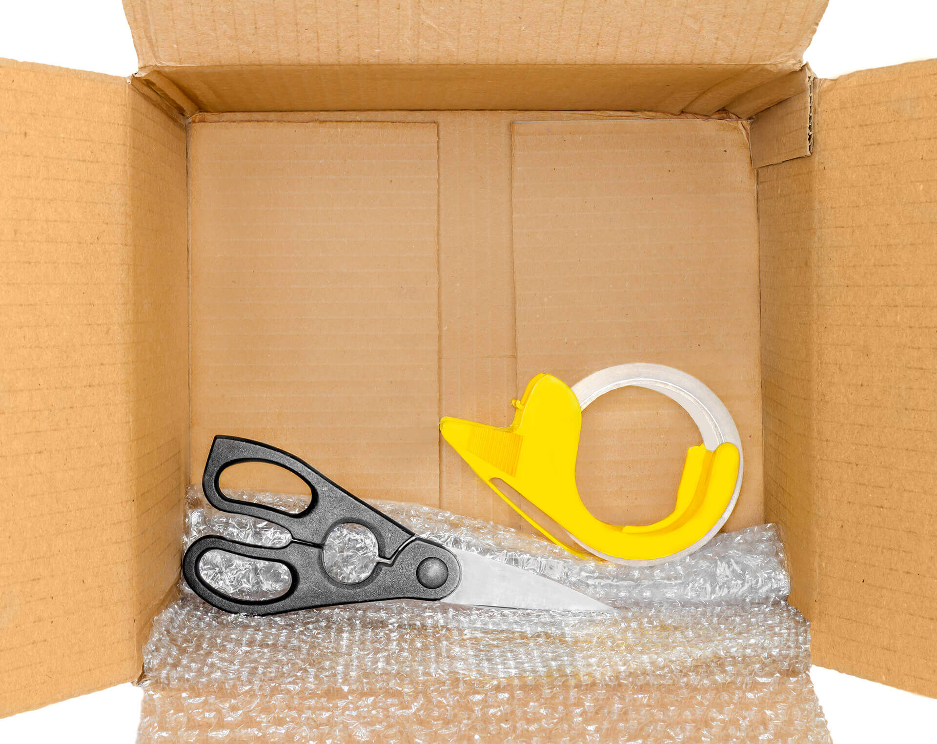 Packing tape, bubble wrap, and scissors