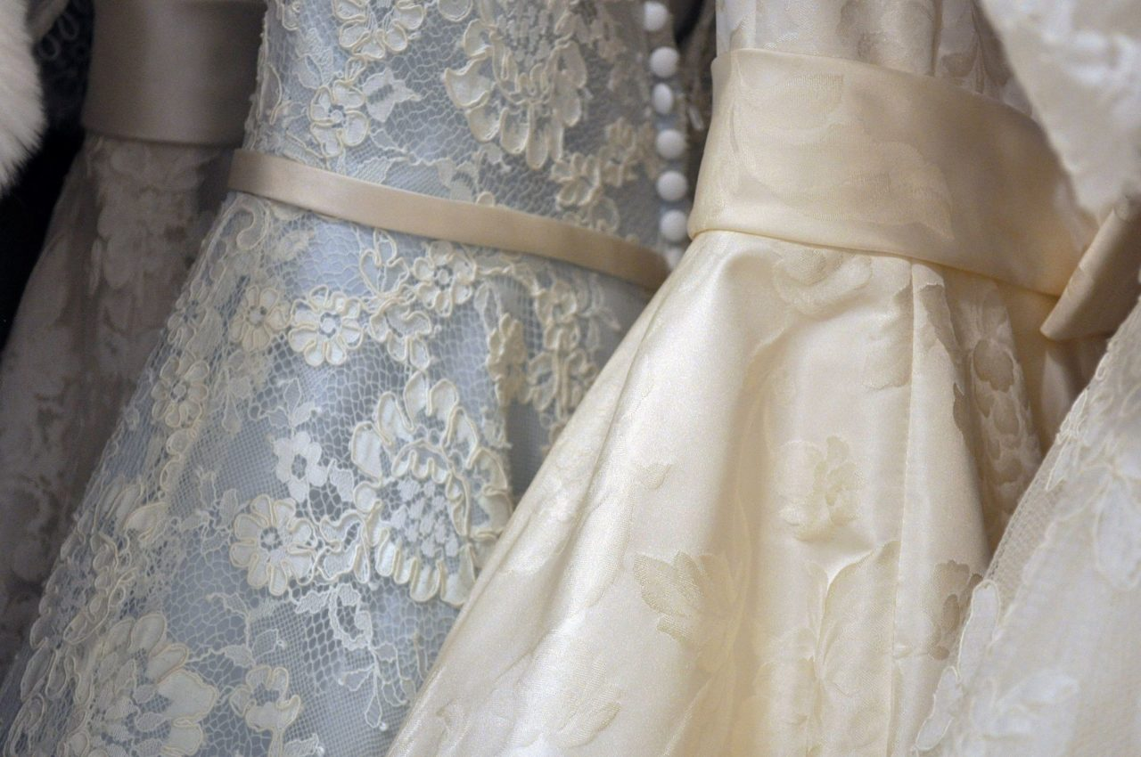 Wedding dresses on the rack